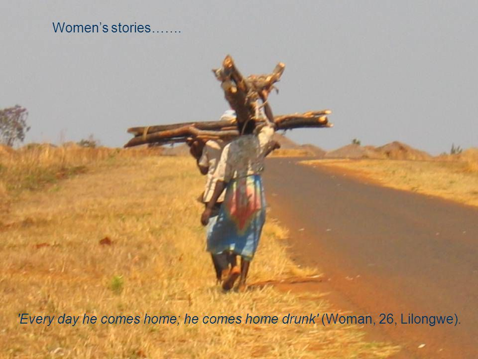 Helse 29 Every day he comes home; he comes home drunk (Woman, 26, Lilongwe). Women's stories…….