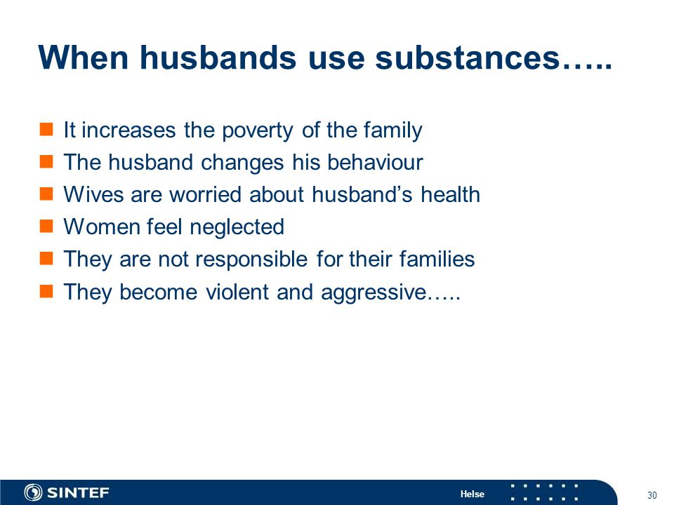 Helse 30 When husbands use substances….. It increases the poverty of the family The husband changes his behaviour Wives are worried about husband's he