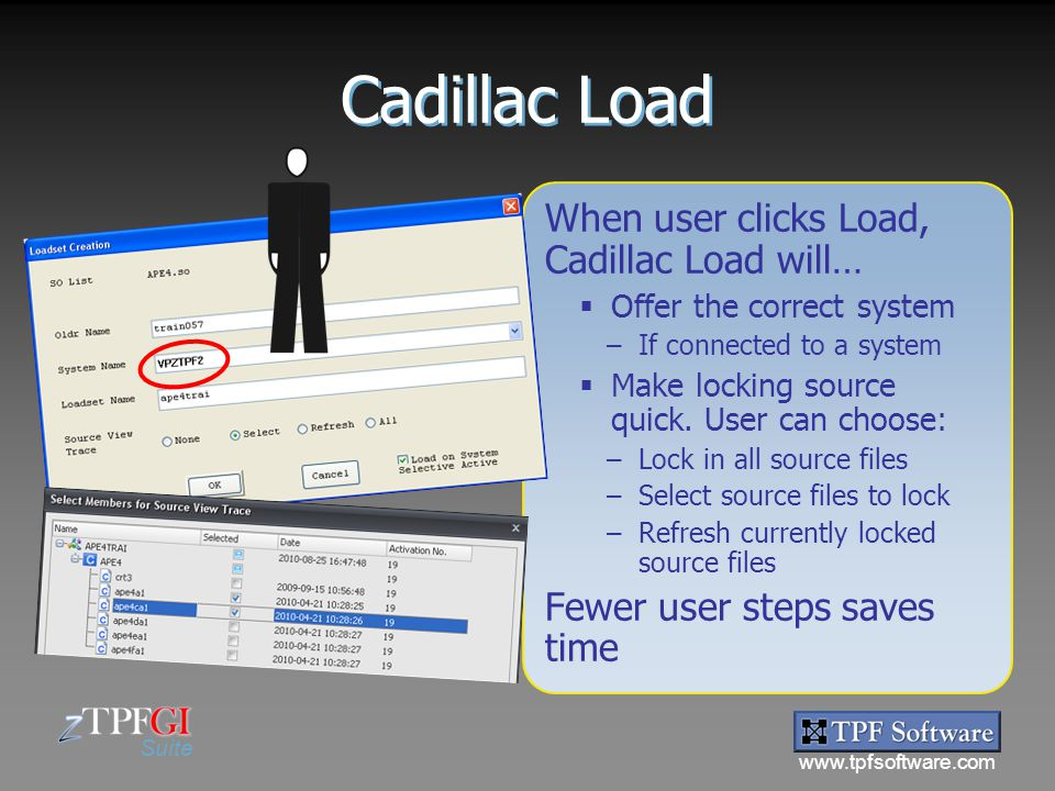 www.tpfsoftware.com Suite Cadillac Load When user clicks Load, Cadillac Load will…  Offer the correct system –If connected to a system  Make locking