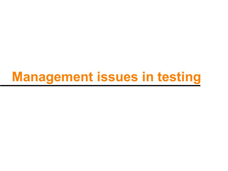 Management issues in testing