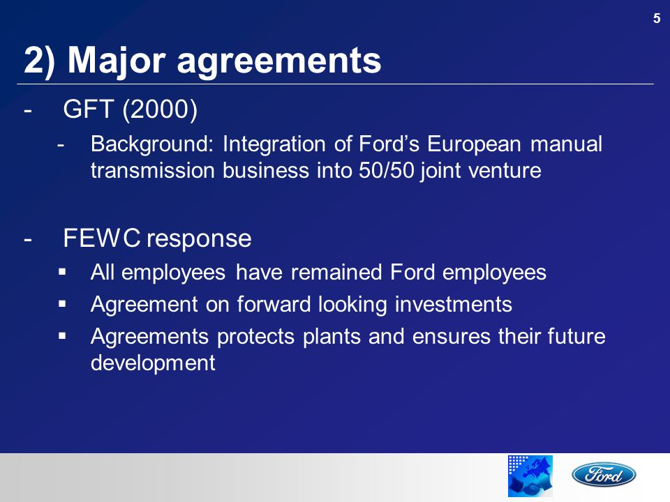 6 2) Major agreements -European Framework Agreement/Code of Conduct (2003) -Agreement on social rights and social responsibility signed by Company and Unions -Well accepted by employees throughout Europe -Seems to be one of the few effective instruments we have in order to conciliate global competition and the European Social model -Initiative in progress to extend to global scale