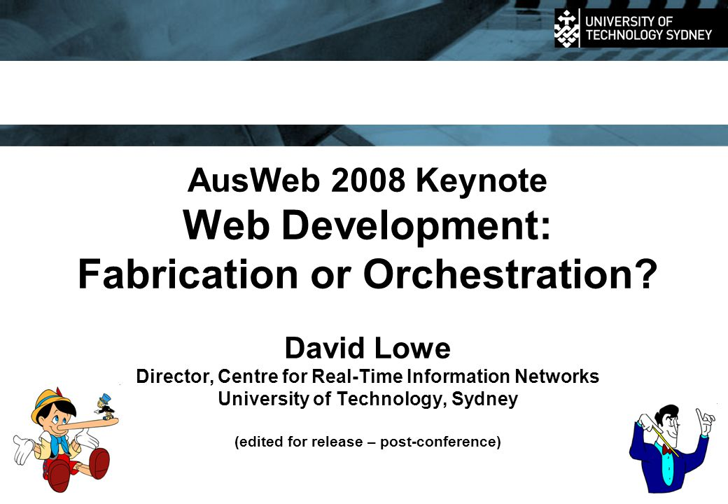 AusWeb 2008 Keynote, (C) David Lowe, UTSSlide 12 1990 to 1995 1 10 100 1k 10k 100k 1M 10M 100M 1G 1990 199219941996199820002002200420062008  StyleThe content Web Focus on static structured content Amazon launched in 1995  AdoptionEmergence / early adopters Discovering potential  Research Hypertext structuring HDM in 1992, RMM in 1994, OOHDM in 1994 Source: http://www.useit.com/alertbox/web-growth.html