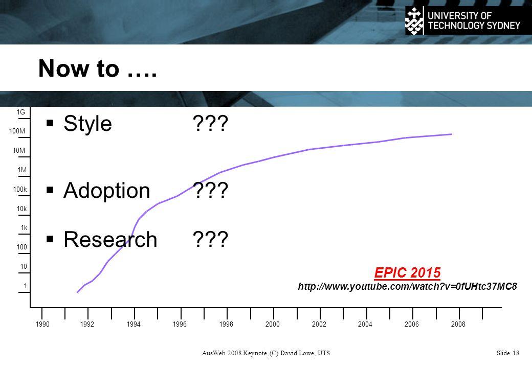 AusWeb 2008 Keynote, (C) David Lowe, UTSSlide 18 Now to ….
