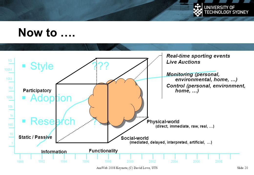 AusWeb 2008 Keynote, (C) David Lowe, UTSSlide 20 Now to ….