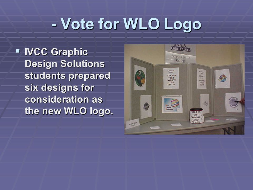 - Vote for WLO Logo  IVCC Graphic Design Solutions students prepared six designs for consideration as the new WLO logo.