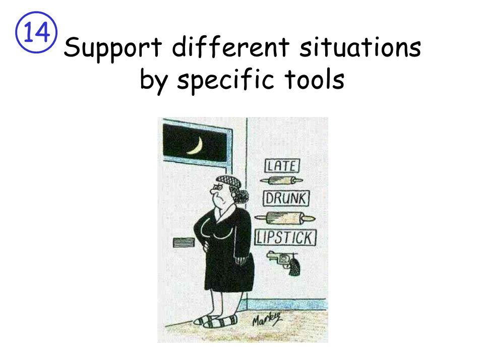 14 Support different situations by specific tools