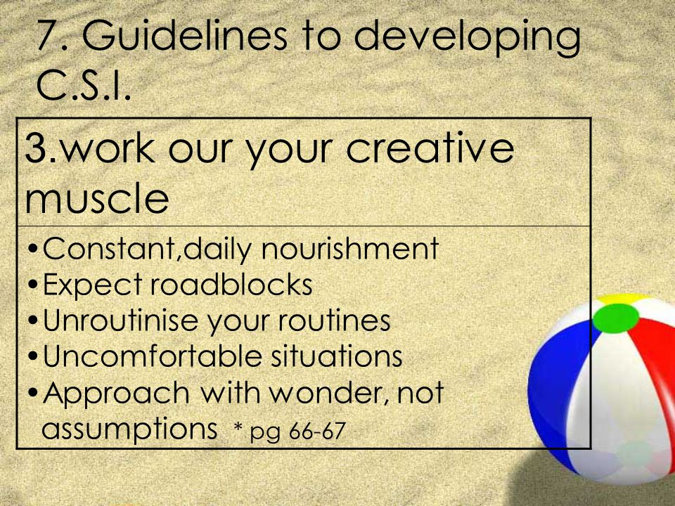 7. Guidelines to developing C.S.I. 3.
