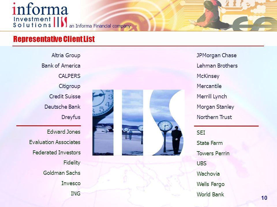 an Informa Financial company 10 Representative Client List Altria Group Bank of America CALPERS Citigroup Credit Suisse Deutsche Bank Dreyfus JPMorgan