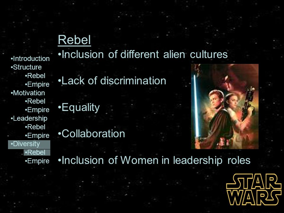 Introduction Structure Rebel Empire Motivation Rebel Empire Leadership Rebel Empire Diversity Rebel Empire Rebel Inclusion of different alien cultures