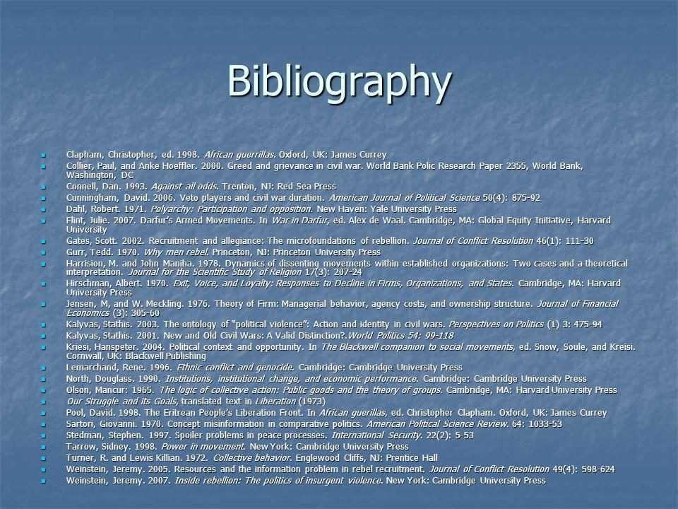 Bibliography Clapham, Christopher, ed. 1998. African guerrillas. Oxford, UK: James Currey Clapham, Christopher, ed. 1998. African guerrillas. Oxford,