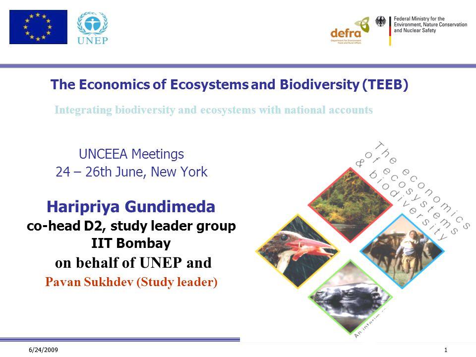 6/24/2009 1 The Economics of Ecosystems and Biodiversity (TEEB) UNCEEA Meetings 24 – 26th June, New York Haripriya Gundimeda co-head D2, study leader