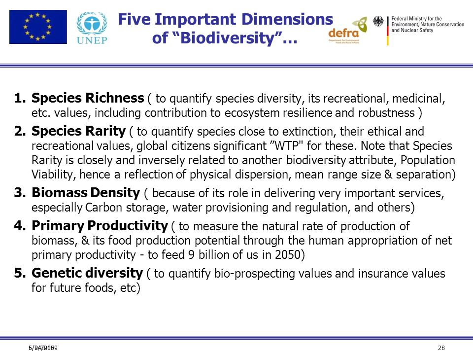 """6/24/2009 Five Important Dimensions of """"Biodiversity""""… 1.Species Richness ( to quantify species diversity, its recreational, medicinal, etc. values, i"""