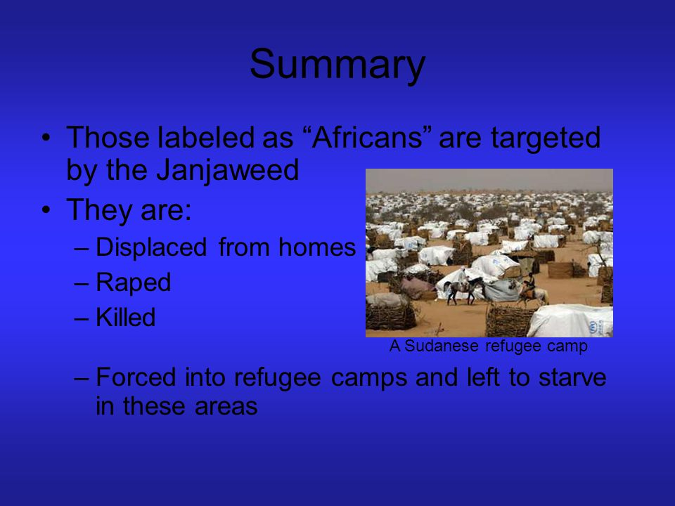 """Summary Those labeled as """"Africans"""" are targeted by the Janjaweed They are: –Displaced from homes –Raped –Killed –Forced into refugee camps and left t"""