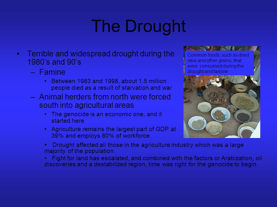 The Drought Terrible and widespread drought during the 1980's and 90's –Famine Between 1983 and 1998, about 1.5 million people died as a result of sta