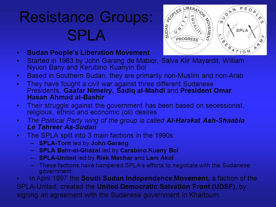 Resistance Groups: JEM Justice and Equality Movement (JEM) Rebel group fighting in the Darfur against the Janjaweed and the Sudanese government Has radical Islamic roots.