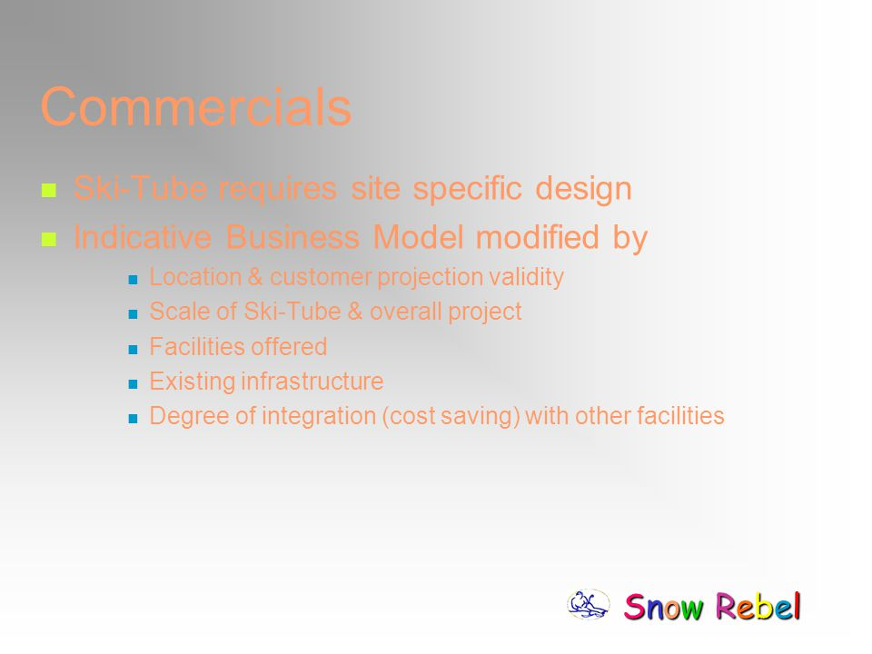 Snow RebelSnow RebelSnow RebelSnow Rebel Commercials Ski-Tube requires site specific design Indicative Business Model modified by Location & customer