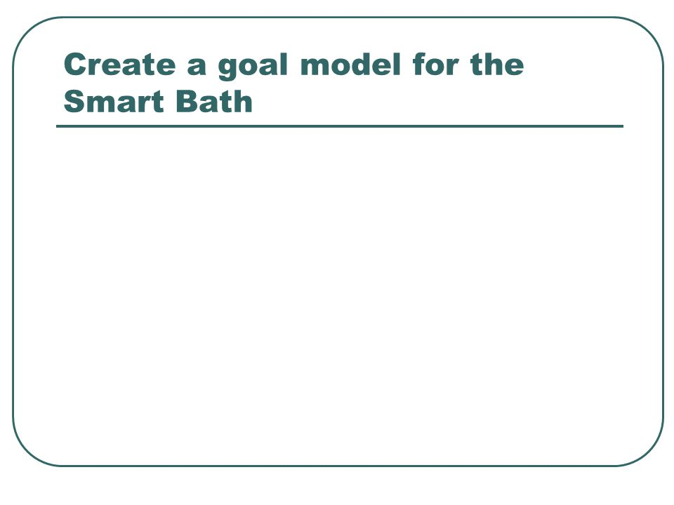 Create a goal model for the Smart Bath