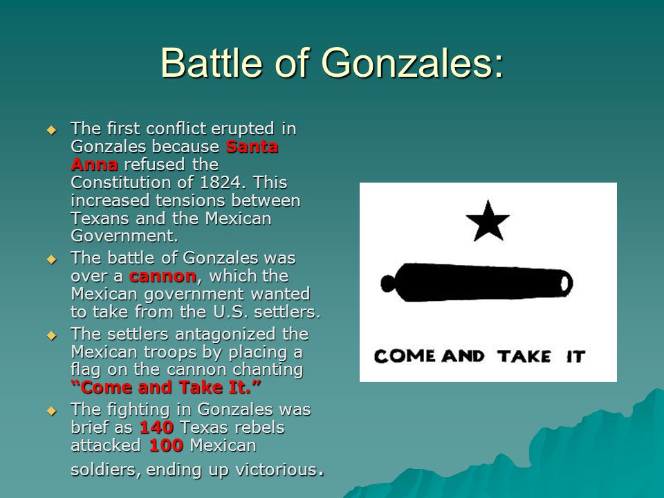 Battle of Gonzales:  The first conflict erupted in Gonzales because Santa Anna refused the Constitution of 1824.