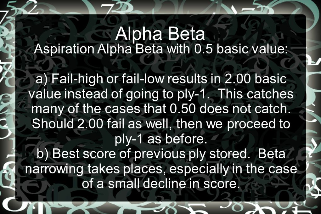 Alpha Beta Aspiration Alpha Beta with 0.5 basic value: a) Fail-high or fail-low results in 2.00 basic value instead of going to ply-1.