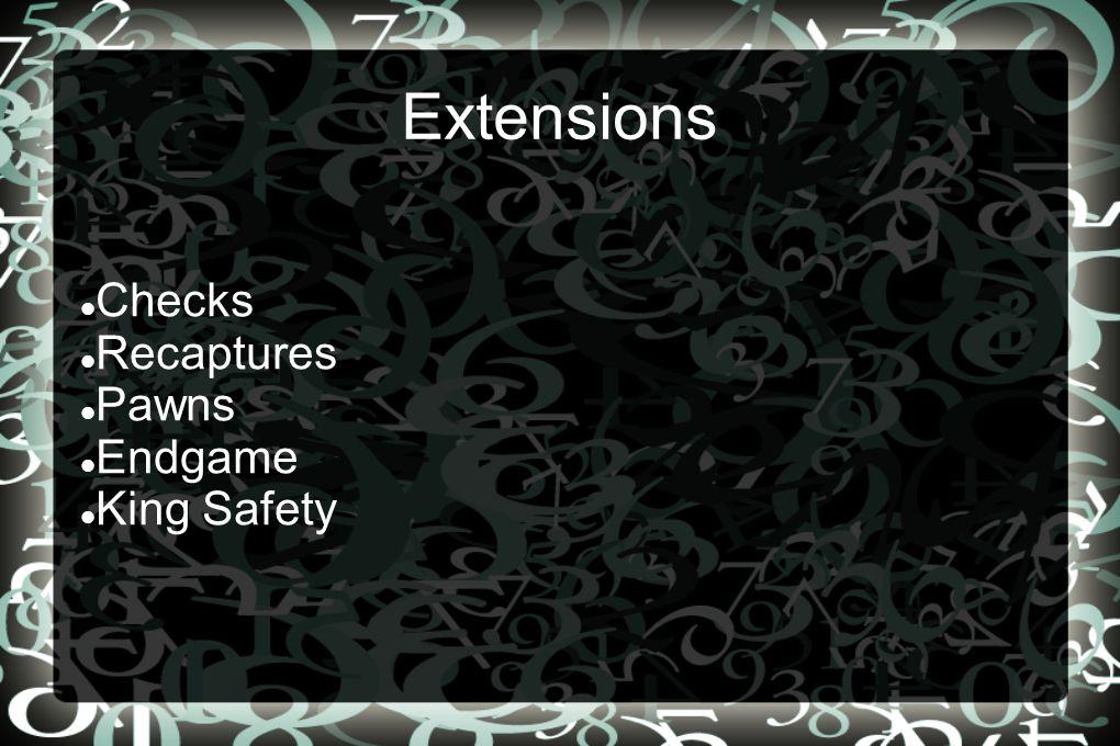 Extensions Checks Recaptures Pawns Endgame King Safety