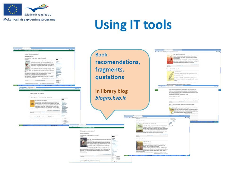 Using IT tools Book recomendations, fragments, quatations in library blog blogas.kvb.lt