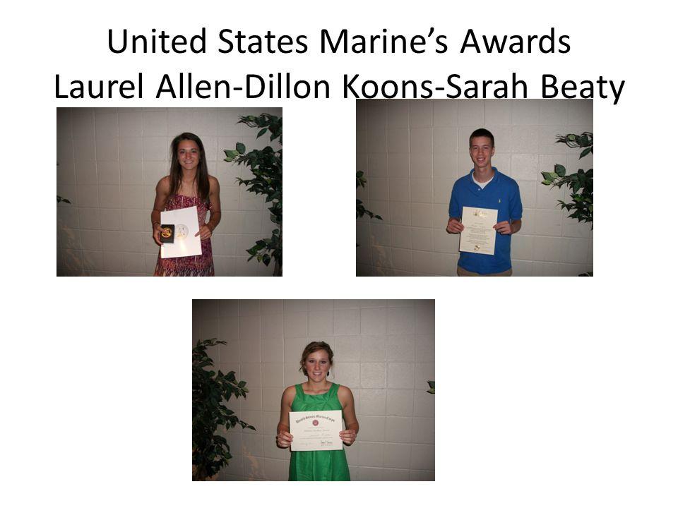 United States Marine's Awards Laurel Allen-Dillon Koons-Sarah Beaty