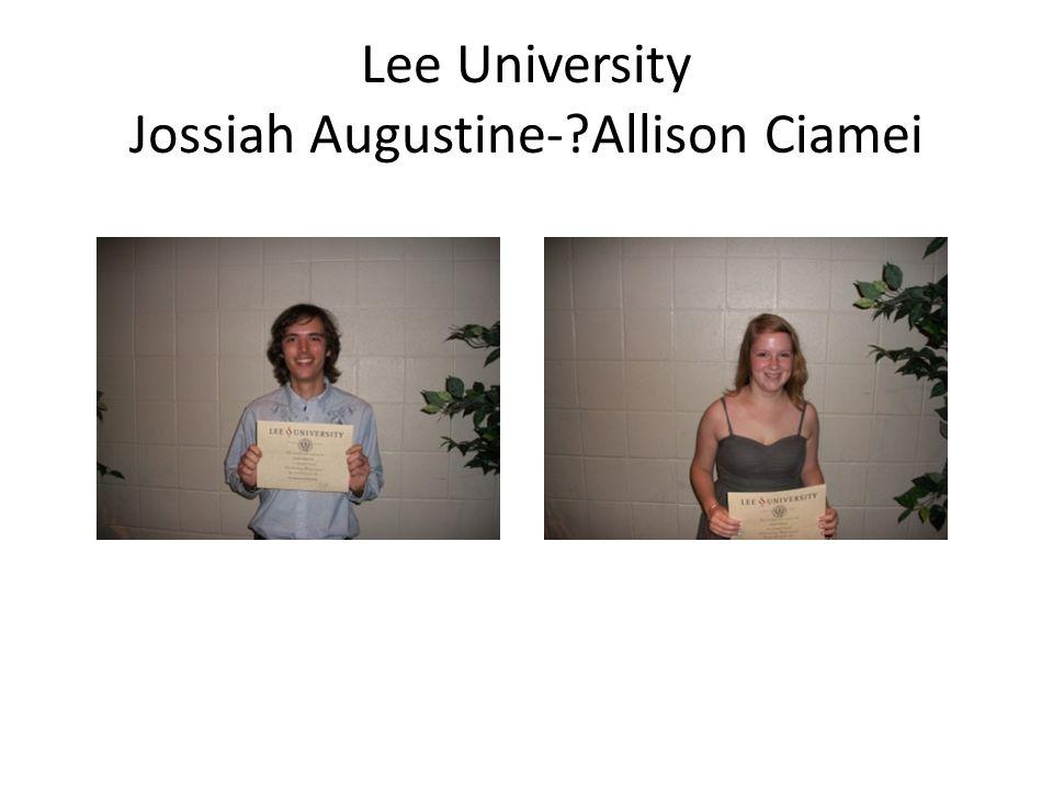 Lee University Jossiah Augustine- Allison Ciamei
