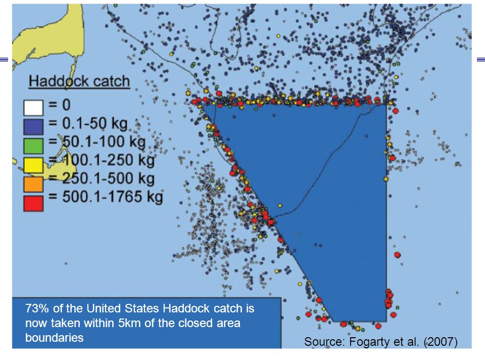73% of the United States Haddock catch is now taken within 5km of the closed area boundaries Source: Fogarty et al. (2007)