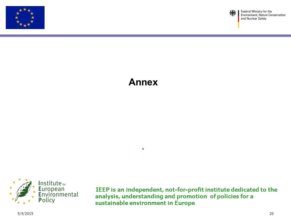 5/9/201520 Annex ` IEEP is an independent, not-for-profit institute dedicated to the analysis, understanding and promotion of policies for a sustainab