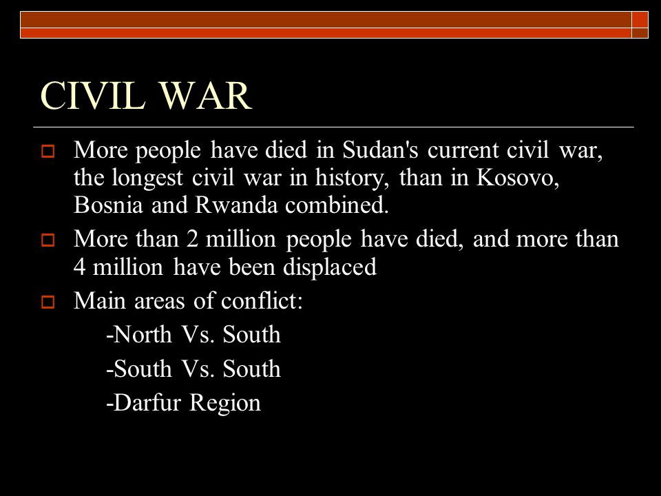 SOUTH VS.SOUTH  About the same amount of people have died in the south vs.