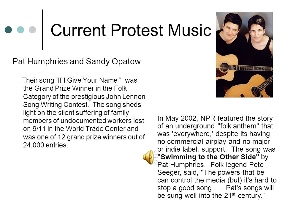 """Current Protest Music Pat Humphries and Sandy Opatow Their song """"If I Give Your Name """" was the Grand Prize Winner in the Folk Category of the prestigi"""