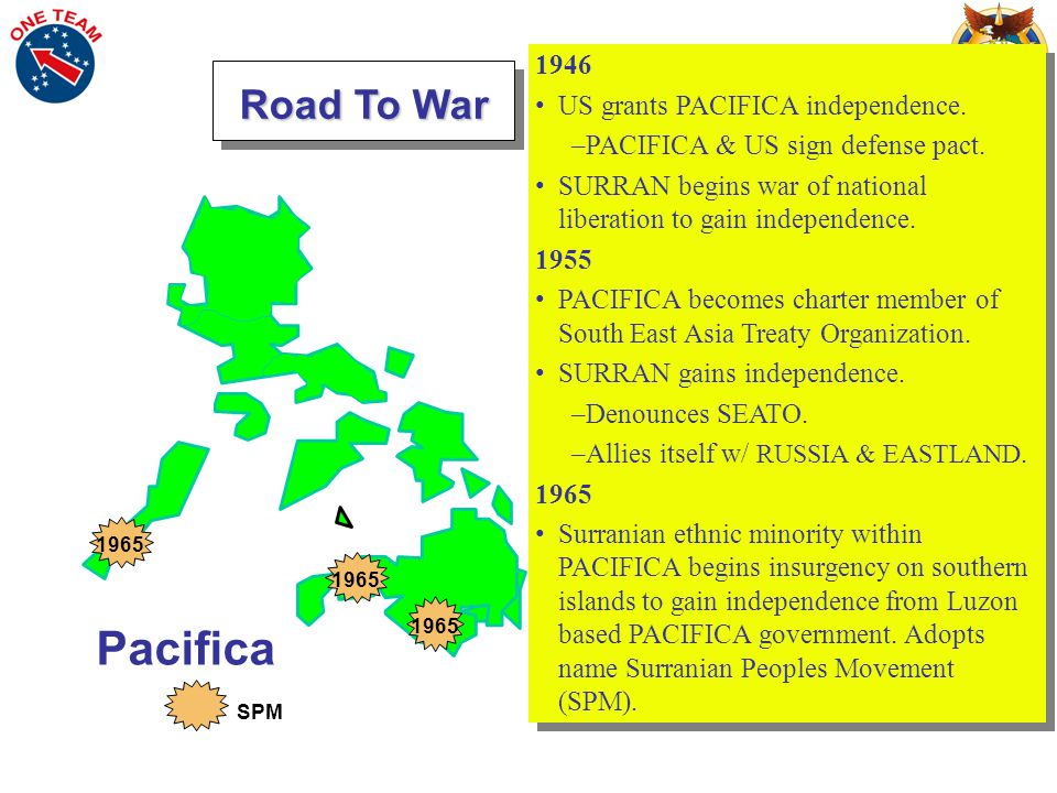 Pacifica 1946 US grants PACIFICA independence. –PACIFICA & US sign defense pact.