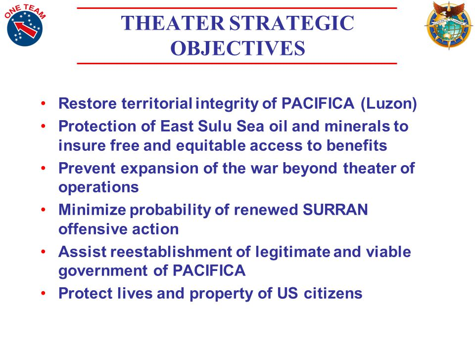 THEATER STRATEGIC OBJECTIVES Restore territorial integrity of PACIFICA (Luzon) Protection of East Sulu Sea oil and minerals to insure free and equitable access to benefits Prevent expansion of the war beyond theater of operations Minimize probability of renewed SURRAN offensive action Assist reestablishment of legitimate and viable government of PACIFICA Protect lives and property of US citizens
