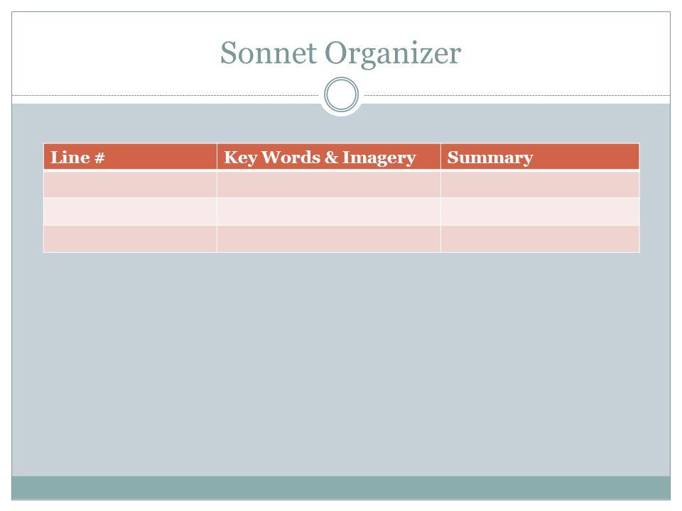 Sonnet Organizer Line #Key Words & ImagerySummary