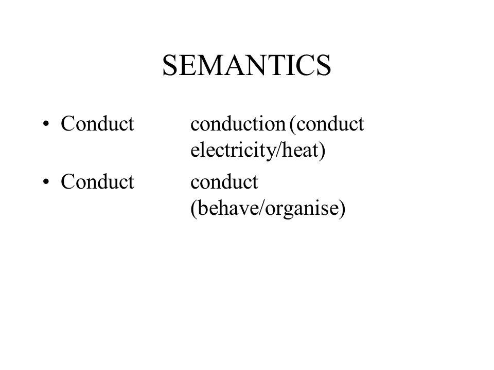 SEMANTICS Conductconduction(conduct electricity/heat) Conductconduct (behave/organise)