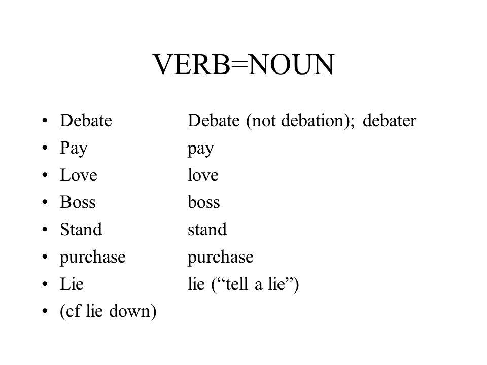 "VERB=NOUN DebateDebate (not debation); debater Paypay Lovelove Bossboss Standstand purchasepurchase Lielie (""tell a lie"") (cf lie down)"