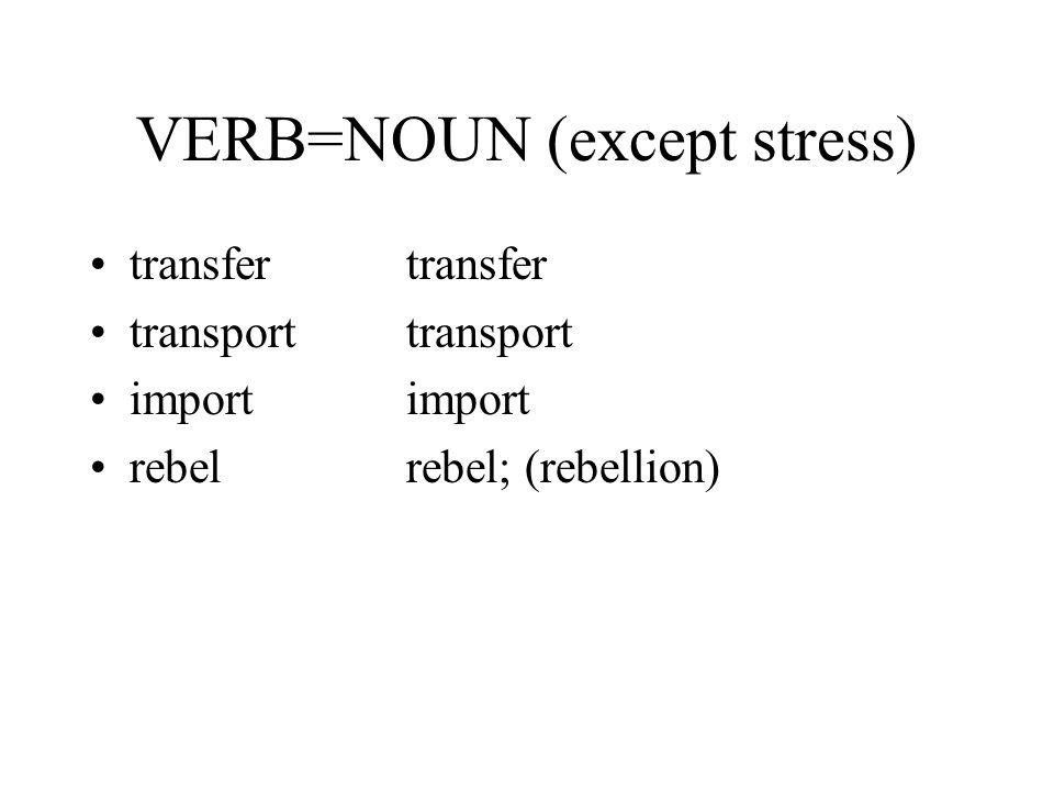 VERB=NOUN (except stress) transfertransfer transport importimport rebelrebel; (rebellion)
