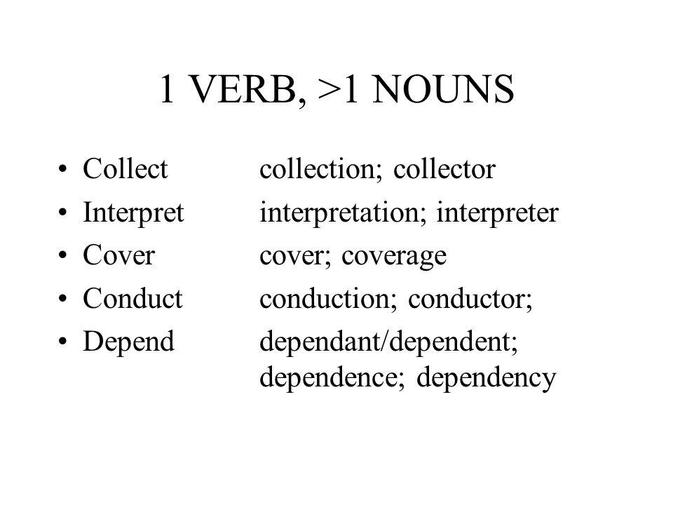 1 VERB, >1 NOUNS Collectcollection; collector Interpretinterpretation; interpreter Covercover; coverage Conductconduction; conductor; Dependdependant/