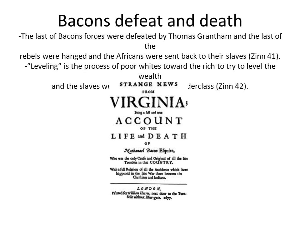 Bacons defeat and death -The last of Bacons forces were defeated by Thomas Grantham and the last of the rebels were hanged and the Africans were sent back to their slaves (Zinn 41).