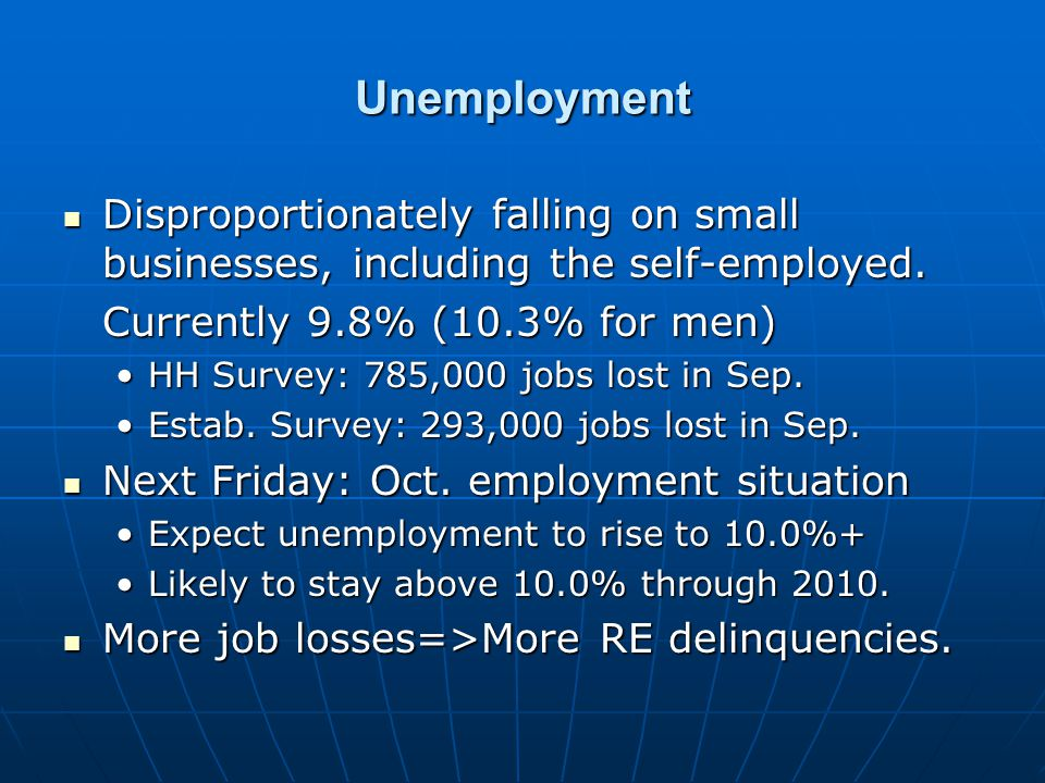 Unemployment Disproportionately falling on small businesses, including the self-employed.
