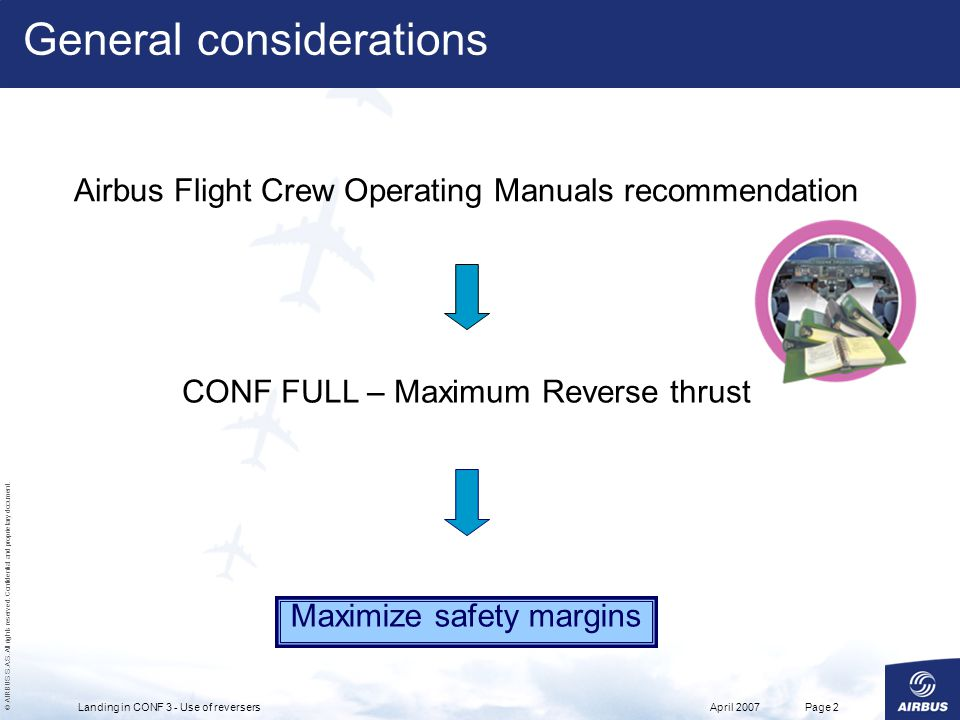© AIRBUS S.A.S. All rights reserved. Confidential and proprietary document. April 2007Landing in CONF 3 - Use of reversersPage 2 General consideration