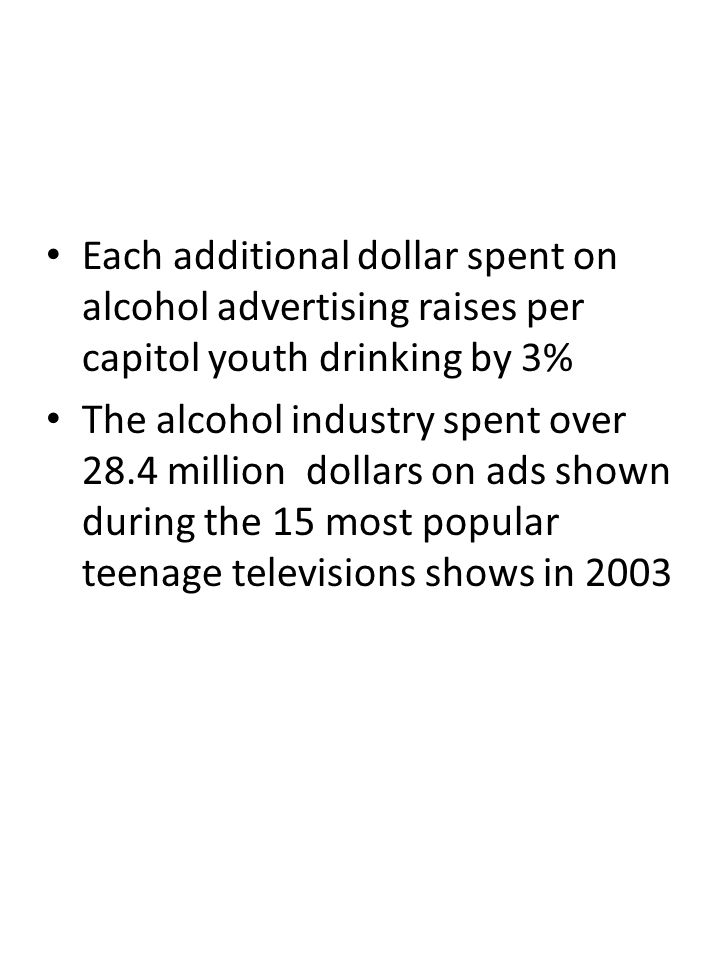 Each additional dollar spent on alcohol advertising raises per capitol youth drinking by 3% The alcohol industry spent over 28.4 million dollars on ads shown during the 15 most popular teenage televisions shows in 2003