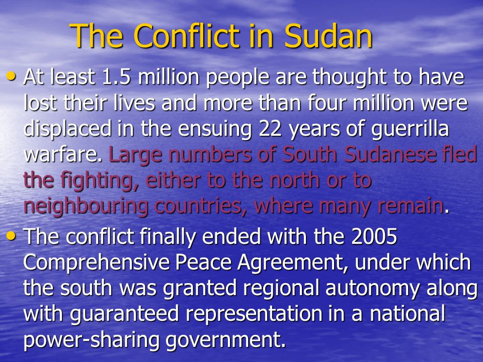 Second civil war 1983 - Fighting breaks out again between north and south Sudan, under leadership of John Garang s Sudanese People s Liberation Movement (SPLM), after Sudanese President Jaafar Numeiri abolishes South Sudan s autonomy.