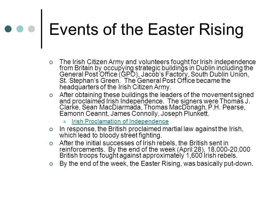 Events of the Easter Rising The Irish Citizen Army and volunteers fought for Irish independence from Britain by occupying strategic buildings in Dublin including the General Post Office (GPO), Jacob's Factory, South Dublin Union, St.