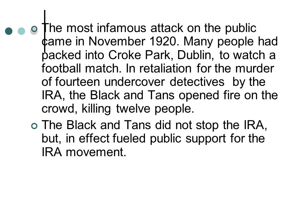 The most infamous attack on the public came in November 1920.