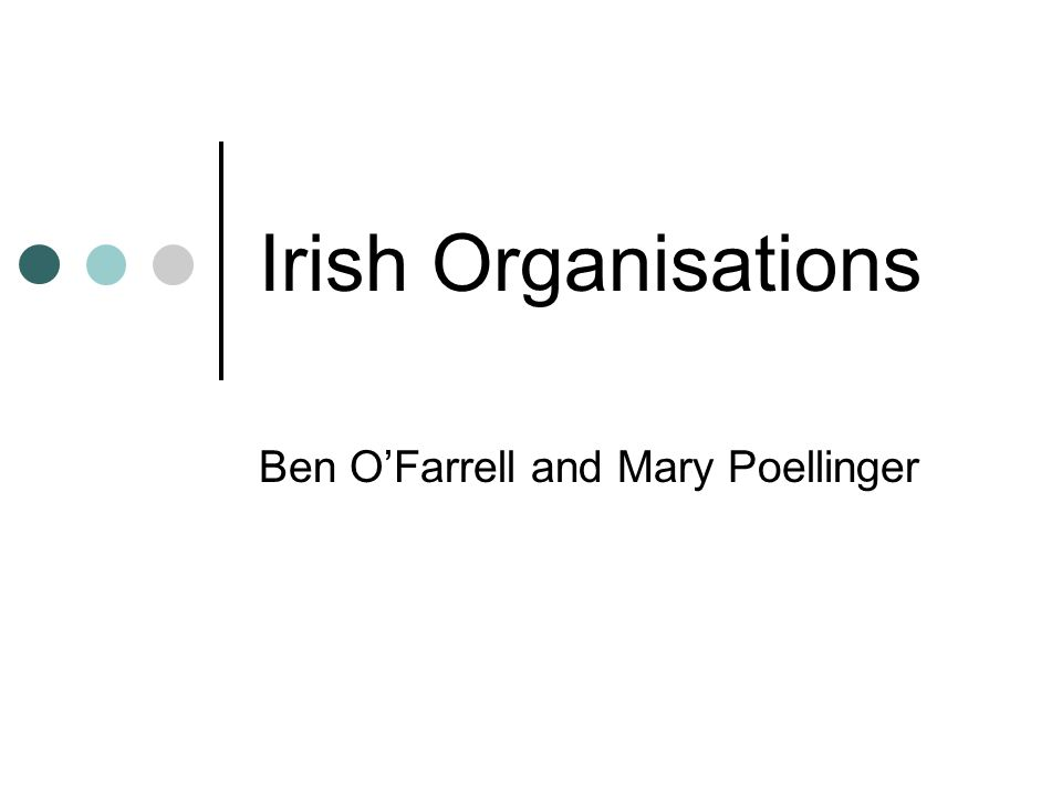 Irish Organisations Ben O'Farrell and Mary Poellinger
