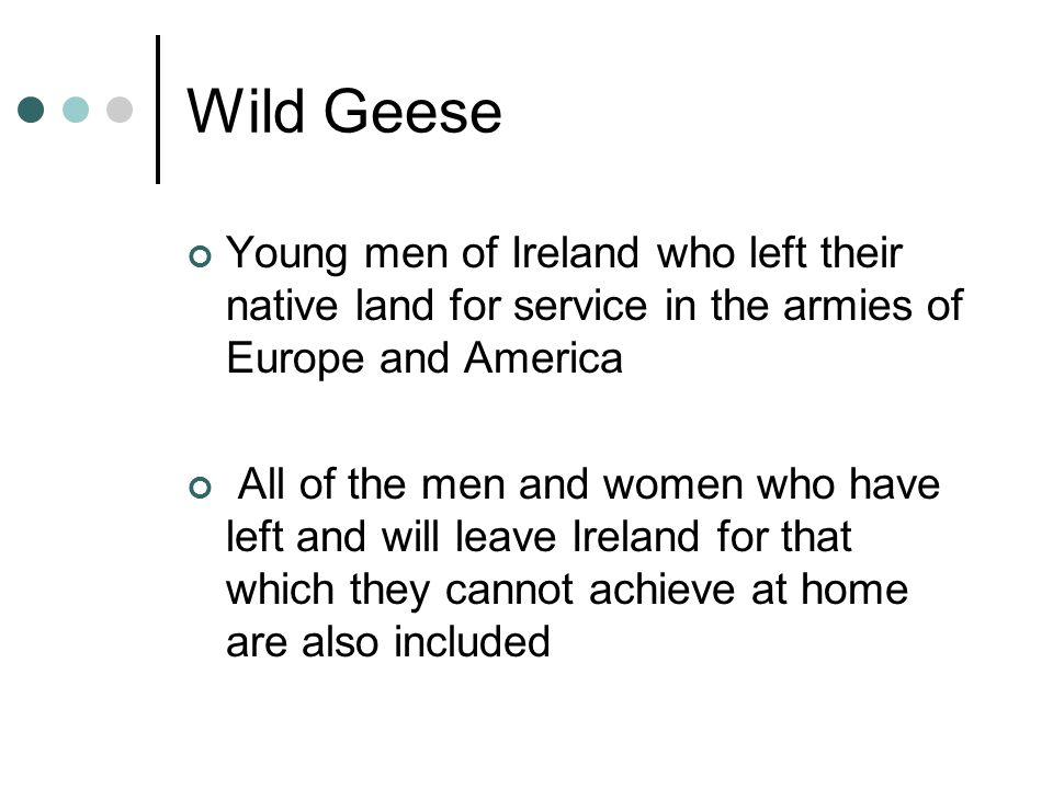 Wild Geese Young men of Ireland who left their native land for service in the armies of Europe and America All of the men and women who have left and will leave Ireland for that which they cannot achieve at home are also included