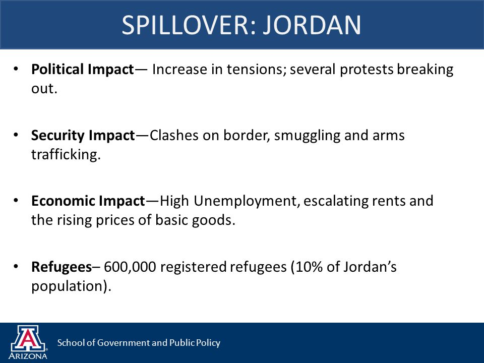 School of Government and Public Policy Political Impact— Increase in tensions; several protests breaking out. Security Impact—Clashes on border, smugg