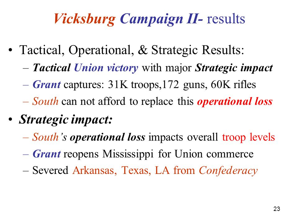 23 Vicksburg Campaign II- results Tactical, Operational, & Strategic Results: –Tactical Union victory with major Strategic impact –Grant captures: 31K troops,172 guns, 60K rifles –South can not afford to replace this operational loss Strategic impact: –South's operational loss impacts overall troop levels –Grant reopens Mississippi for Union commerce –Severed Arkansas, Texas, LA from Confederacy