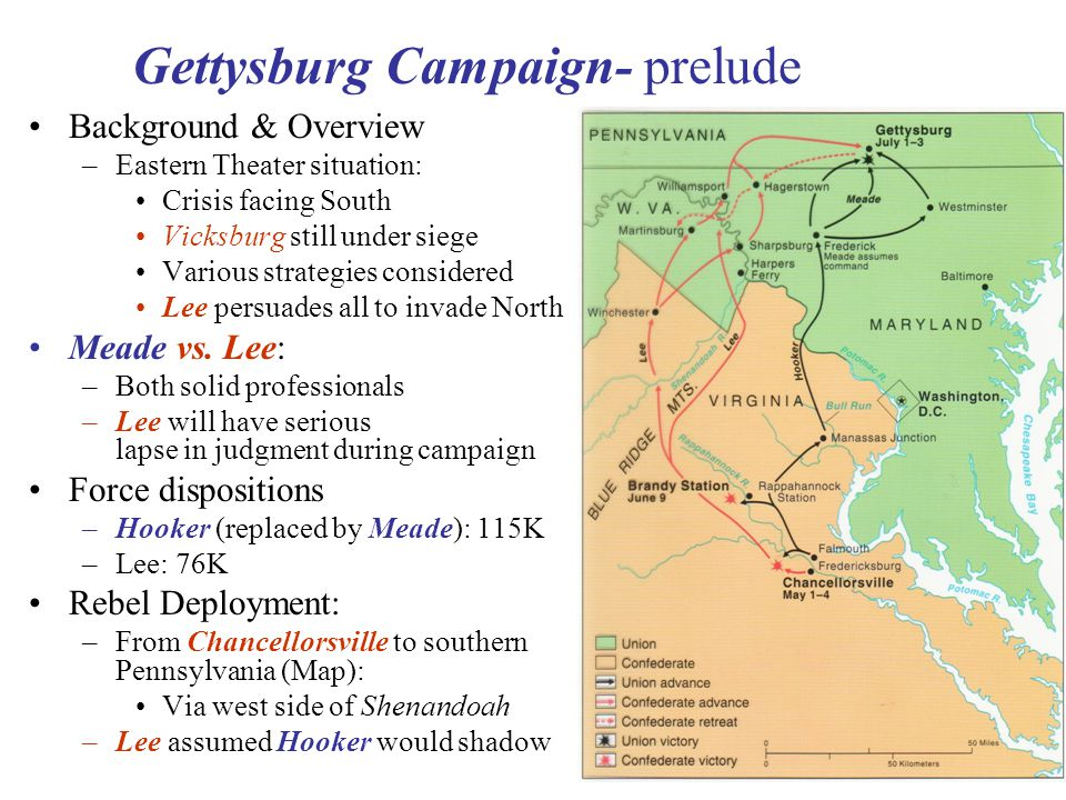 24 Gettysburg Campaign- prelude Background & Overview –Eastern Theater situation: Crisis facing South Vicksburg still under siege Various strategies considered Lee persuades all to invade North Meade vs.